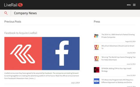 Screenshot of Press Page liverail.com - News Archive | LiveRail - captured Sept. 16, 2014