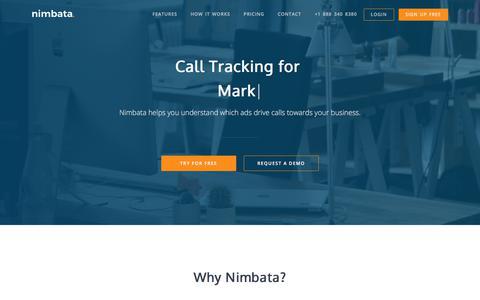 Screenshot of Home Page nimbata.com - Nimbata Call Tracking | Analytics for PPC, SEO, and Direct Marketing - captured Aug. 11, 2019