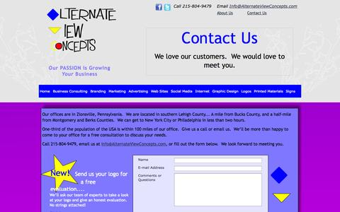 Screenshot of Contact Page alternateviewconcepts.com - Contact Us at Alternate View Concepts - captured Sept. 30, 2014