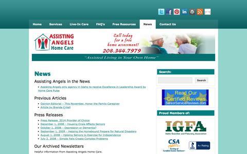 Screenshot of Press Page assistingangels.biz - Latest News | Assisting Angels Home Care | - captured Nov. 21, 2016