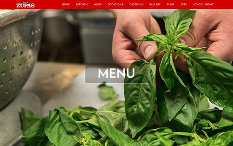 Screenshot of Menu Page cafezupas.com - Menu - Cafe Zupas - captured Feb. 2, 2016