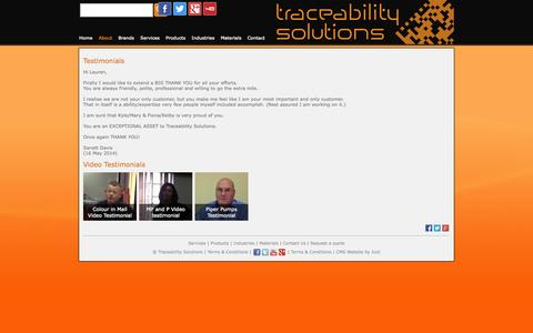 Screenshot of Testimonials Page tracesol.co.za - Testimonials — Traceability Solutions - captured Oct. 6, 2014