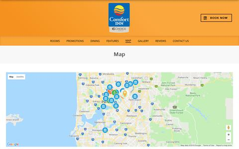 Screenshot of Maps & Directions Page beleyremotel.com.au - Map – Comfort Inn Bel Eyre Perth – Perth – Australia - captured Oct. 22, 2018