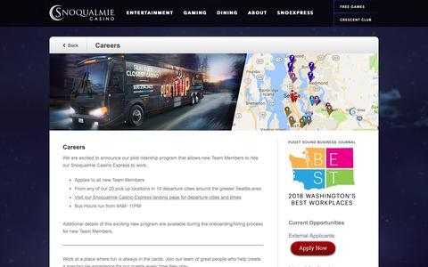 Screenshot of Jobs Page snocasino.com - Careers | Snoqualmie Casino - captured Oct. 19, 2018