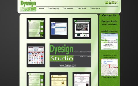 Screenshot of Home Page dyesign.com - Dyesign Studio - captured Oct. 5, 2014