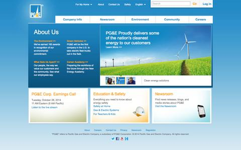 Screenshot of About Page pge.com - About Us   PG&E - captured Oct. 29, 2014
