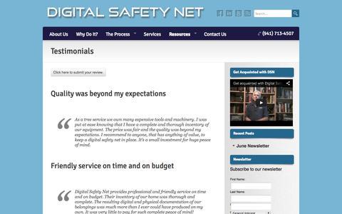 Screenshot of Testimonials Page digitalsafetynetfl.com - Testimonials   Digital Safety Net - captured Oct. 5, 2014