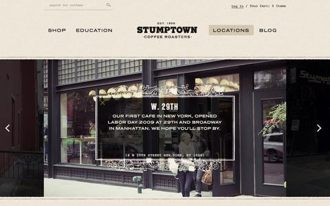 Screenshot of Locations Page stumptowncoffee.com - Locations - Stumptown Coffee Roasters - captured Sept. 24, 2014