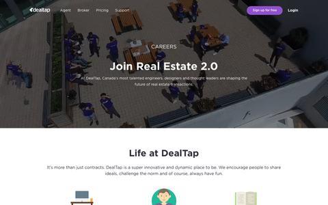Screenshot of Jobs Page dealtap.ca - Careers - captured Nov. 6, 2018
