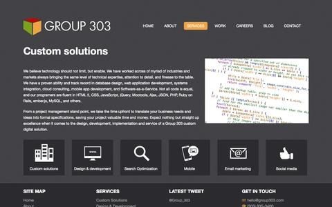 Screenshot of Services Page group303.com - Services | Group 303 - captured Sept. 30, 2014