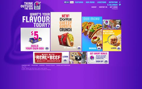 Screenshot of Home Page tacobell.ca - Taco Bell - captured Jan. 30, 2015