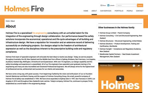 Screenshot of About Page holmesfire.com - About | Holmes Fire - captured July 21, 2018