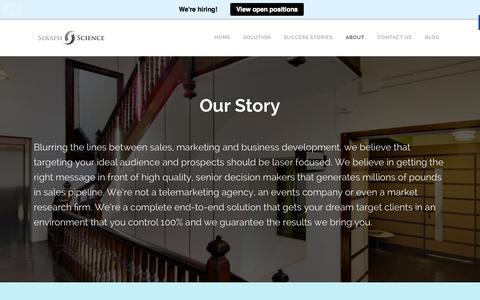 Screenshot of About Page seraphscience.com - About Seraph Science | C-Suite Marketing - captured Oct. 26, 2014
