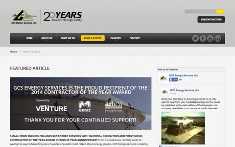 Screenshot of Press Page gcsenergy.ca - News & Events  |  GCS Energy Services - captured Oct. 1, 2014