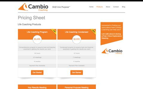 Screenshot of Pricing Page cambiocoach.com - Pricing Sheet - Cambio Coaching - captured Nov. 1, 2014