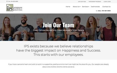 Screenshot of Jobs Page ipsonline.net - Join Our Team - IPS Integrated Payroll Services - captured Jan. 17, 2018
