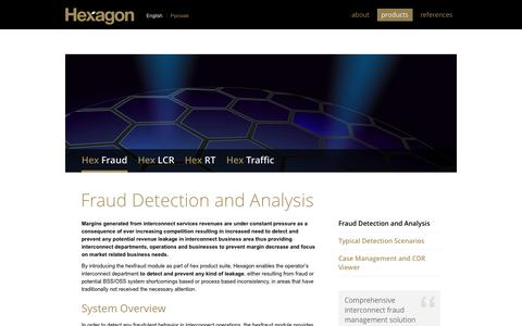 Screenshot of Products Page hex-group.com - Fraud Detection and Analysis » Hexagon - captured Oct. 3, 2014