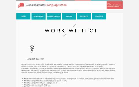 Screenshot of Jobs Page global-institutes.com - Work with GI - captured July 19, 2018
