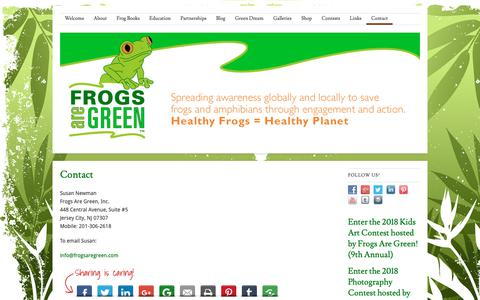 Screenshot of Contact Page frogsaregreen.org - Contact | Frogs Are Green - captured Nov. 6, 2018