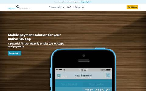 Screenshot of Developers Page payleven.it - Integrate payments in your mobile app through API | payleven UK - captured Oct. 31, 2014