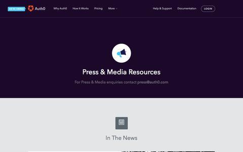 Screenshot of Press Page auth0.com - Press - Auth0 - captured Feb. 12, 2016