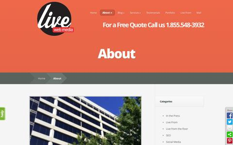 Screenshot of About Page livewebmedia.com - All About Live Web Media - captured Sept. 30, 2014