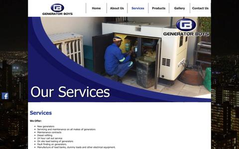 Screenshot of Services Page generator-boys.co.za - Generator Services in Gauteng | Generator Boys - captured Nov. 4, 2018