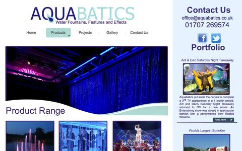 Screenshot of Products Page aquabatics.co.uk - Product-range - captured Sept. 30, 2014