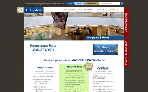 Screenshot of Services Page icsystem.com - Programs & Rates - IC System - captured Oct. 29, 2014