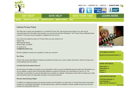 Screenshot of Privacy Page thefamilytree.org - Internet Privacy Policy - captured Oct. 5, 2014