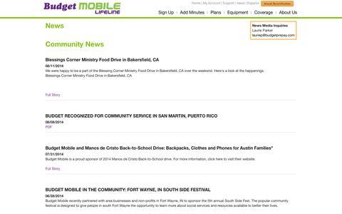 Screenshot of Press Page budgetmobile.com - Budget Mobile - captured Sept. 18, 2014