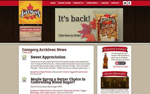 Screenshot of Press Page themaplestore.com - News Archives - Jakeman's Maple Products - captured Oct. 6, 2014