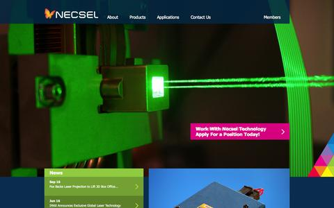 Screenshot of Home Page Products Page necsel.com - Home - Necsel - captured Sept. 30, 2014