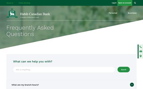 Screenshot of FAQ Page habibcanadian.com - FAQ: Frequently Asked Questions | Habib Canadian Bank - captured Sept. 26, 2018
