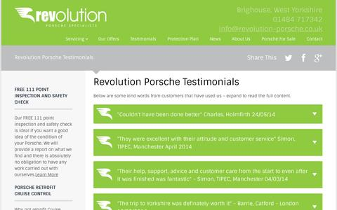 Screenshot of Testimonials Page revolution-porsche.co.uk - Revolution Porsche Testimonials - Revolution Porsche - captured Oct. 9, 2014