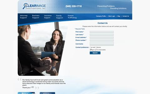 Screenshot of Contact Page clearimageinvestigations.com - Clear Image Investigations - Witness Interviews. - captured Oct. 2, 2014