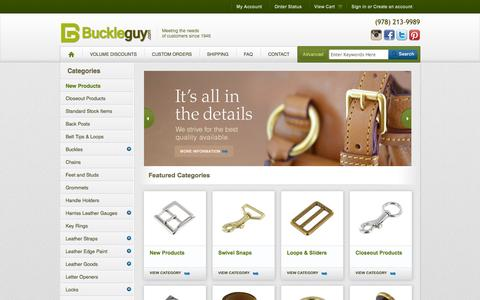 Screenshot of Home Page buckleguy.com - Handbag and Purse Hardware Supplies, Brass Buckles, Leather Hardware - captured Oct. 5, 2014