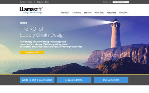 Screenshot of Home Page llamasoft.com - LLamasoft Supply Chain Design Software, Supply Chain Guru� Supply Chain Simulation Software - captured Nov. 3, 2015