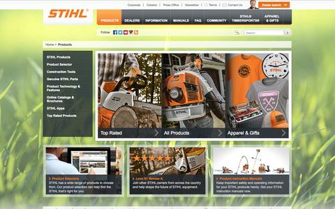 Screenshot of Products Page stihlusa.com - Outdoor Power Equipment, Tools, & Accessories   STIHL USA - captured Sept. 23, 2014