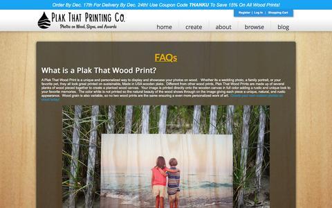 Screenshot of FAQ Page plakthat.com - FAQs - Plak That | Photos on Wood - captured Dec. 9, 2015