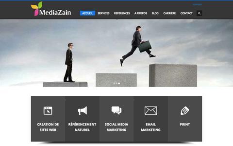Screenshot of Home Page mediazain.com - Mediazain : Agence web Casablanca, Création de site web internet Maroc - captured Sept. 30, 2014