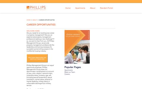 Screenshot of Jobs Page phillipsmanagement.com - Career Opportunities - Phillips Management Group - captured Sept. 28, 2018
