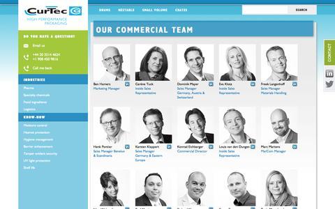 Screenshot of Team Page curtec.com - Our commercial team - CurTec - captured Oct. 3, 2014