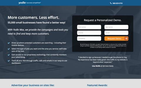 Screenshot of Landing Page yodle.com - Internet Marketing Essentials | Yodle - captured April 29, 2016