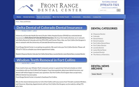 Screenshot of Press Page frontrangedentalcenter.com - News and Articles | Fort Collins Dentist | General Dentists in Fort Collins, Colorado - captured Oct. 6, 2014