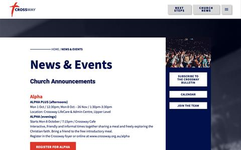Screenshot of Press Page crossway.org.au - News & Events - Crossway: Loving God, Loving People, Disciples That Multiply - captured Sept. 30, 2018
