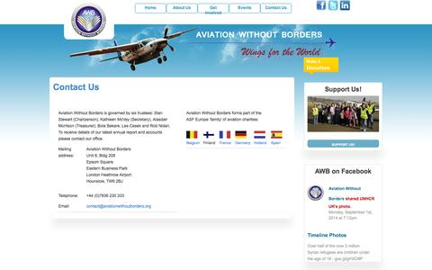 Screenshot of Contact Page aviationwithoutborders.org - Contact Us | Aviation Without Borders - captured Sept. 30, 2014