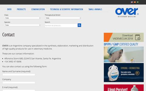 Screenshot of Contact Page over.com.ar - Contact - Laboratorios Over SRL - Laboratorios Over SRL - captured Dec. 13, 2018