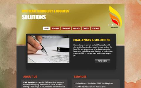 Screenshot of Home Page utab-solutions.com - UTAB Solutions - Upstream Technology and Business Solutions - captured Oct. 6, 2014