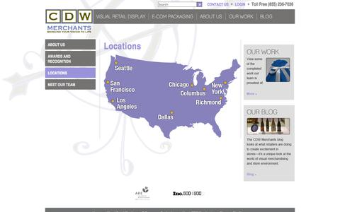 Screenshot of Contact Page Locations Page cdwmerchants.com - Locations - captured Oct. 22, 2014